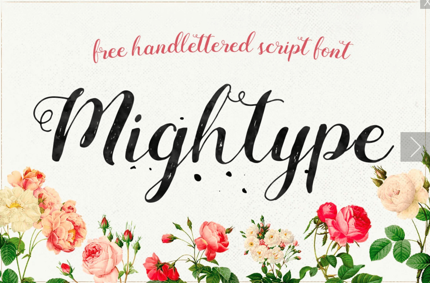 Free font for commercial use. This typeface is Mightype