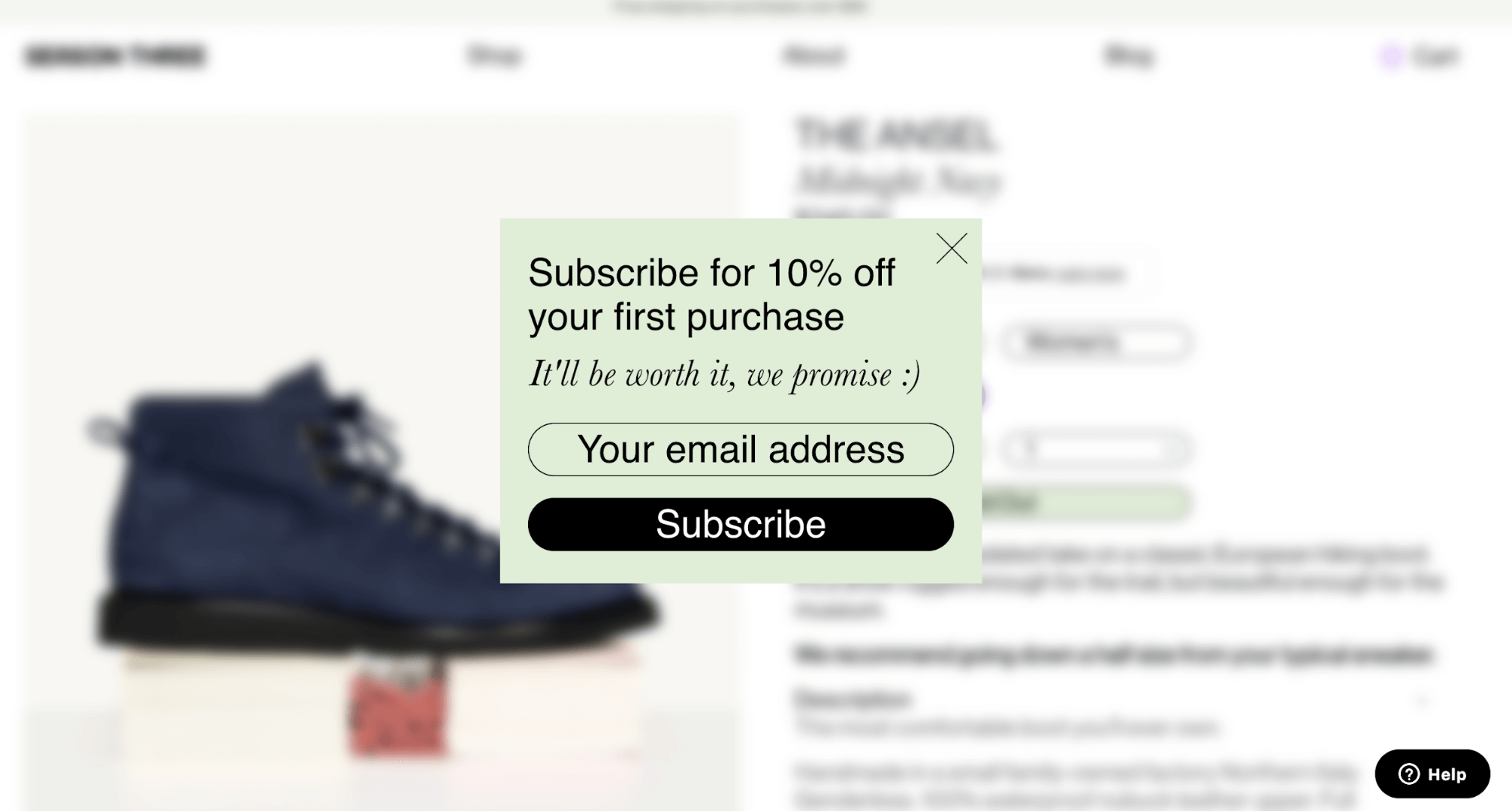 discount on pop-up for ecommerce website