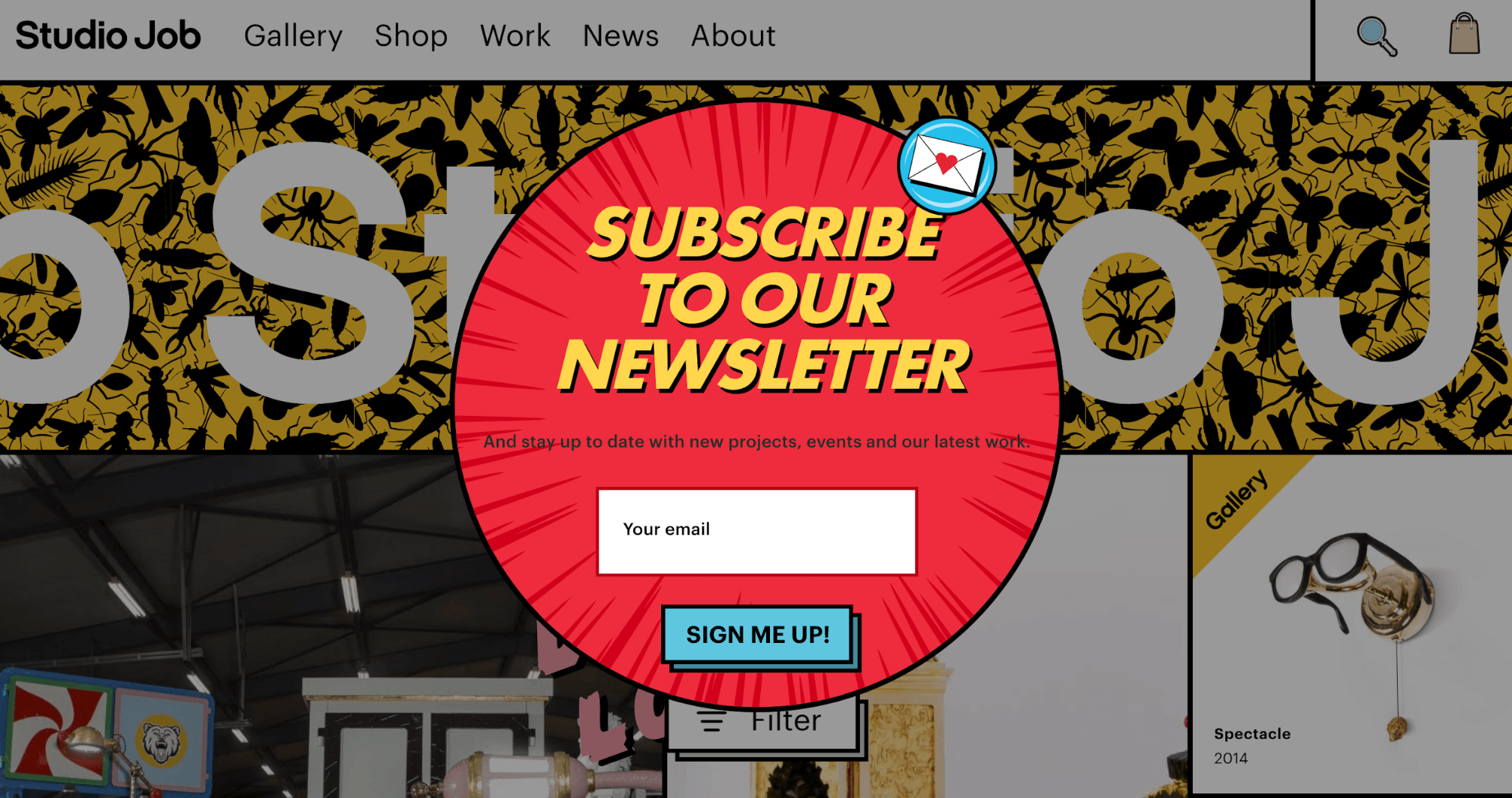 fun, quirky ecommerce website design with pop-up