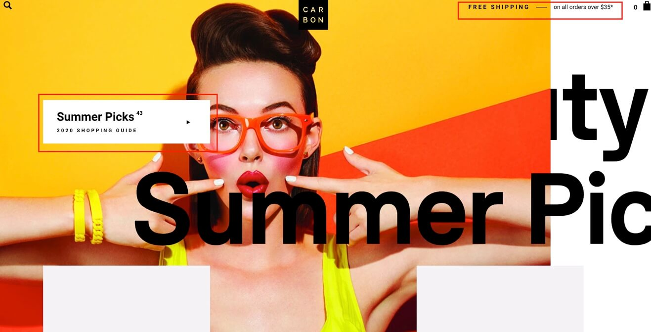 bright colors on ecommerce website design